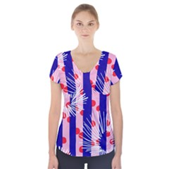 Line Vertical Polka Dots Circle Flower Blue Pink White Short Sleeve Front Detail Top by Mariart