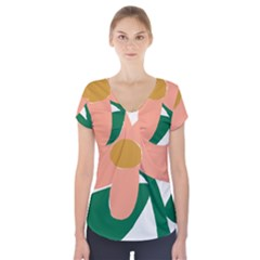 Peach Sunflower Flower Pink Green Short Sleeve Front Detail Top by Mariart