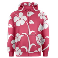 Pink Hawaiian Flower White Men s Zipper Hoodie by Mariart