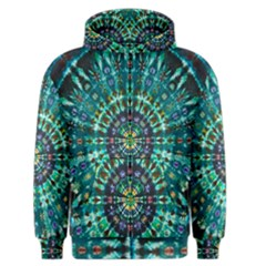 Peacock Throne Flower Green Tie Dye Kaleidoscope Opaque Color Men s Zipper Hoodie by Mariart