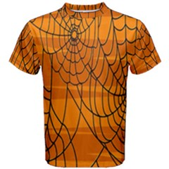 Vector Seamless Pattern With Spider Web On Orange Men s Cotton Tee by BangZart