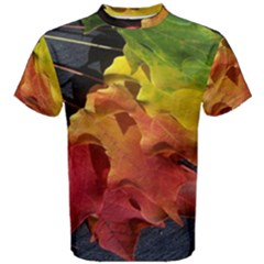 Green Yellow Red Maple Leaf Men s Cotton Tee by BangZart
