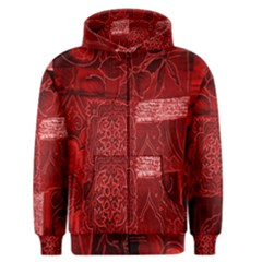 Red Background Patchwork Flowers Men s Zipper Hoodie by BangZart