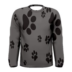 Dog Foodprint Paw Prints Seamless Background And Pattern Men s Long Sleeve Tee by BangZart