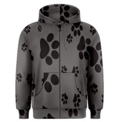Dog Foodprint Paw Prints Seamless Background And Pattern Men s Zipper Hoodie by BangZart