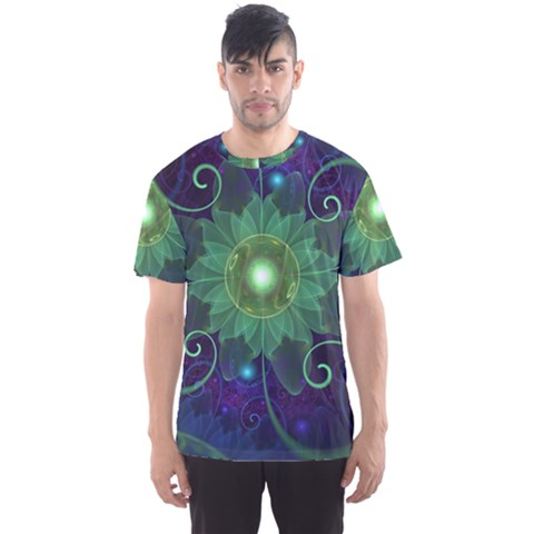 Glowing Blue-green Fractal Lotus Lily Pad Pond Men s Sports Mesh Tee by jayaprime