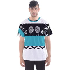 Flowers Turquoise Pattern Floral Men s Sports Mesh Tee by BangZart