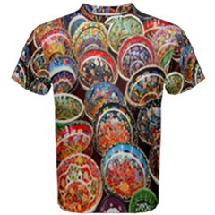 Colorful Oriental Bowls On Local Market In Turkey Men s Cotton Tee by BangZart