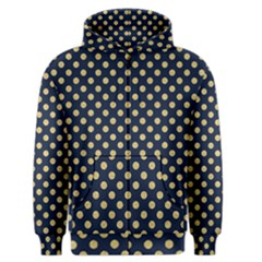 Navy/gold Polka Dots Men s Zipper Hoodie by Colorfulart23