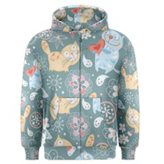 Cute Cat Background Pattern Men s Zipper Hoodie by BangZart