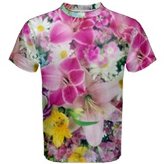 Colorful Flowers Patterns Men s Cotton Tee by BangZart