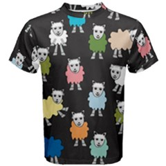 Sheep Cartoon Colorful Black Pink Men s Cotton Tee by BangZart