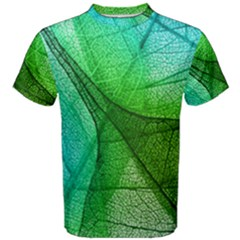 Sunlight Filtering Through Transparent Leaves Green Blue Men s Cotton Tee by BangZart