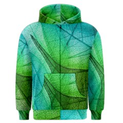 Sunlight Filtering Through Transparent Leaves Green Blue Men s Zipper Hoodie by BangZart