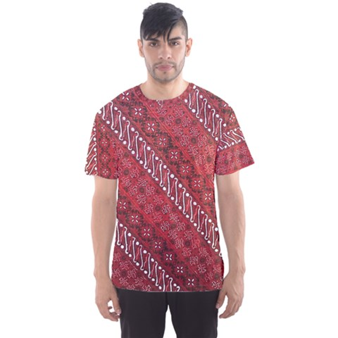 Red Batik Background Vector Men s Sports Mesh Tee by BangZart
