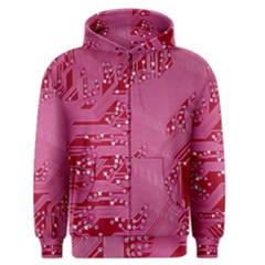 Pink Circuit Pattern Men s Zipper Hoodie by BangZart