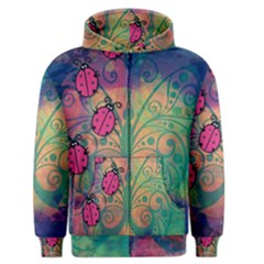 Background Colorful Bugs Men s Zipper Hoodie