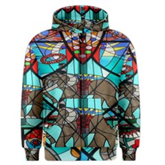 Elephant Stained Glass Men s Zipper Hoodie by BangZart