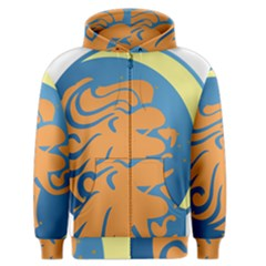 Lion Zodiac Sign Zodiac Moon Star Men s Zipper Hoodie by Nexatart