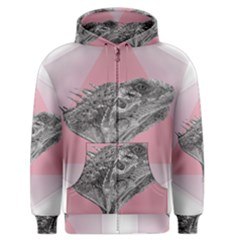 Lizard Hexagon Rosa Mandala Emblem Men s Zipper Hoodie by Nexatart
