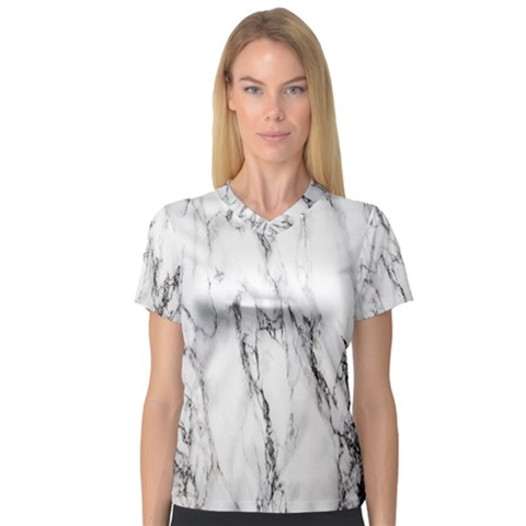 Marble Granite Pattern And Texture V-neck Sport Mesh Tee by Nexatart