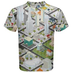 Simple Map Of The City Men s Cotton Tee by Nexatart