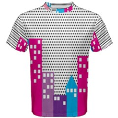 Building Polka City Rainbow Men s Cotton Tee by Mariart