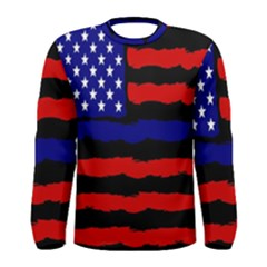 Flag American Line Star Red Blue White Black Beauty Men s Long Sleeve Tee by Mariart