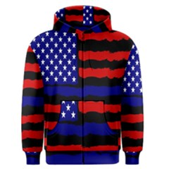Flag American Line Star Red Blue White Black Beauty Men s Zipper Hoodie by Mariart