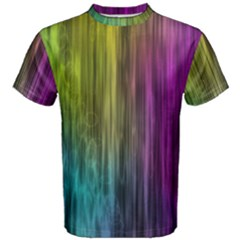 Rainbow Bubble Curtains Motion Background Space Men s Cotton Tee by Mariart