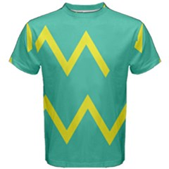 Waves Chevron Wave Green Yellow Sign Men s Cotton Tee