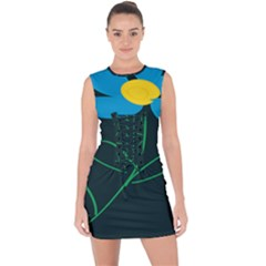 Whimsical Blue Flower Green Sexy Lace Up Front Bodycon Dress by Mariart