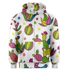 Cactus Seamless Pattern Background Polka Wave Rainbow Men s Zipper Hoodie by Mariart