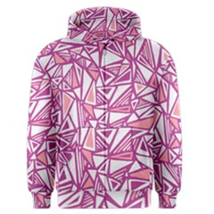Conversational Triangles Pink White Men s Zipper Hoodie by Mariart