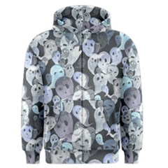Ghosts Blue Sinister Helloween Face Mask Men s Zipper Hoodie by Mariart
