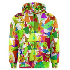 Colorful Shapes On A White Background                             Men s Zipper Hoodie by LalyLauraFLM
