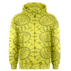 Yellow Flower Floral Circle Sexy Men s Zipper Hoodie by Mariart