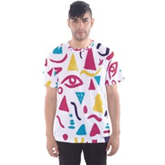 Eye Triangle Wave Chevron Red Yellow Blue Men s Sports Mesh Tee