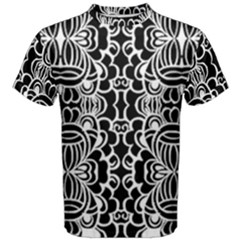 Psychedelic Pattern Flower Black Men s Cotton Tee by Mariart