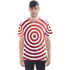 Concentric Red Rings Background Men s Sports Mesh Tee