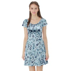 Blue Pattern With Music Notes Short Sleeve Skater Dress by CoolDesigns