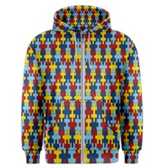 Fuzzle Red Blue Yellow Colorful Men s Zipper Hoodie by Mariart