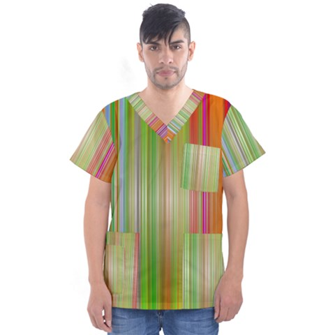 Rainbow Stripes Vertical Colorful Bright Men s V Neck Scrub Top by Mariart
