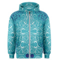 Repeatable Patterns Shutterstock Blue Leaf Heart Love Men s Zipper Hoodie by Mariart