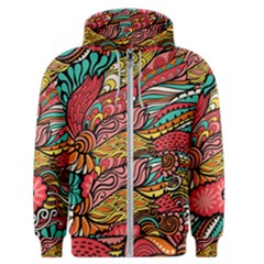 Seamless Texture Abstract Flowers Endless Background Ethnic Sea Art Men s Zipper Hoodie by Mariart