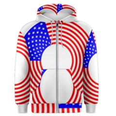 Stars Stripes Circle Red Blue Men s Zipper Hoodie by Mariart