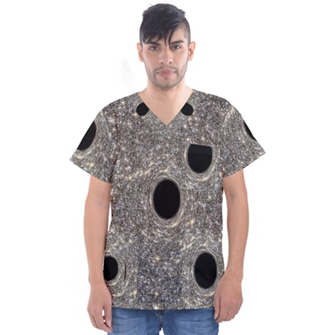 Black Hole Blue Space Galaxy Star Light Men s V-neck Scrub Top by Mariart