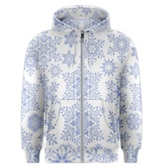 Snowflakes Blue White Cool Men s Zipper Hoodie by Mariart
