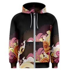 Flower Back Leaf Polka Dots Black Pink Men s Zipper Hoodie
