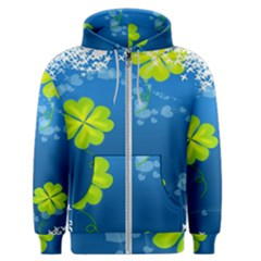 Flower Shamrock Green Blue Sexy Men s Zipper Hoodie by Mariart